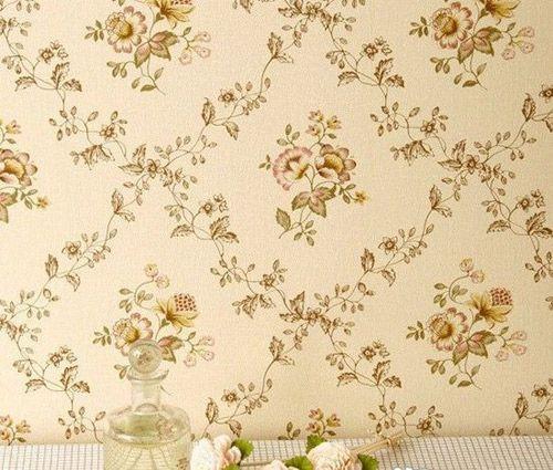 装修墙纸效果图:温馨田园小花卧室墙壁纸图片