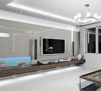 客厅电视背景墙装修图片:据北岸装饰设计师陈建介绍,材质和色彩搭配是